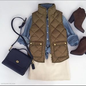 J Crew Excursion Quilted Down Vest (Irish Moss)